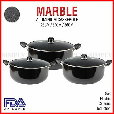 Non Stick Casserole Dish Induction Cookware Aluminium Marble Black Glass Lids