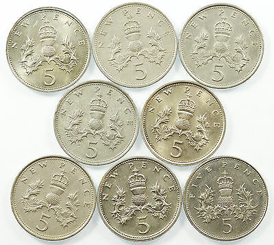 Great Britain, Decimal 5P Five Pence Collection, 8 Coins, 1968-1988