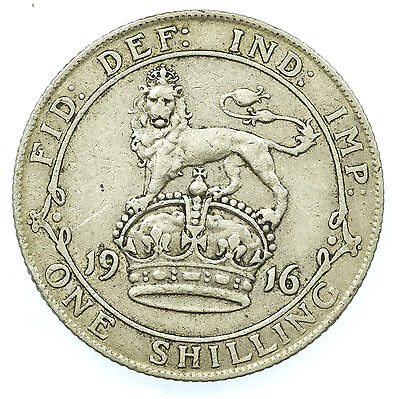 Great Britain, George V Shilling, Silver, 1916