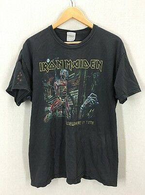 Distressed Iron Maiden 86/87 Somewhere In Time Concert Tour Tshirt Sz L