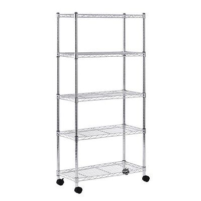 """Sandusky MWS301460 5-Tier Mobile Wire Shelving Unit with 2"""" Nylon Casters, 5 Wir"""