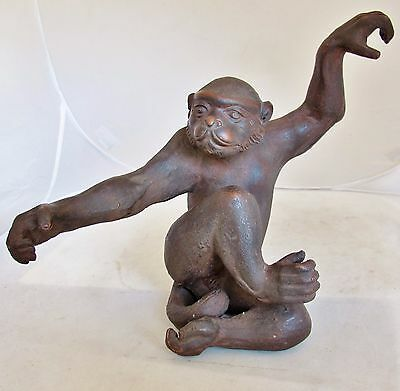 "Rare Vintage Chinese Signed YIXING Zisha Purple Clay ? Monkey Statue  (13.25"")"
