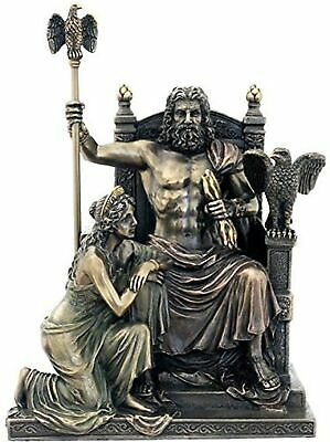 Father of Gods Zeus with Hera at the Throne 11 Inch Colored Cold Cast Bronze Fig