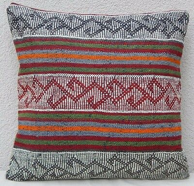 16x16 inch Aztec Pattern Vintage Turkish Hand Woven Boho Kilim Rug Pillow Cover