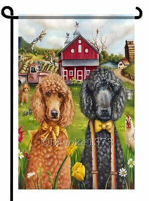 POODLES painting GARDEN FLAG black apricot red Country Dog ART print