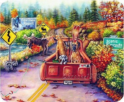 "Great Dane whimsical colorful dog ART thick QUALITY mouse pad ""moose crossing"""