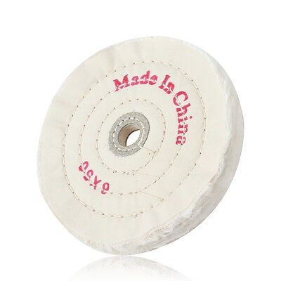 6in Cloth Buffing Polishing Wheel 1/2in Arbor Buffer Grinder Polisher White Pad