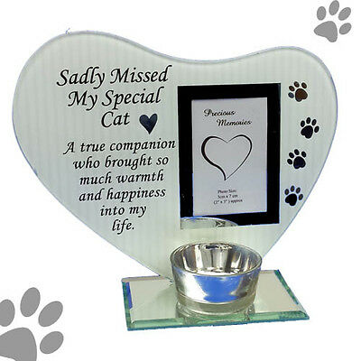 photo & poem plaque with tea light candle holder sadly missed my special cat
