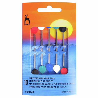 Pony Marking Pins. Made of steel, with blunt points and coloured plastic knobs.