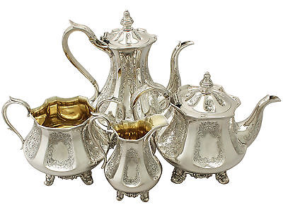 Antique Sterling Silver Four Piece Tea and Coffee Set Victorian