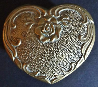 Vintage Brass Heart Shaped Trinket Box w/Rose and Intricate Border Design Heavy