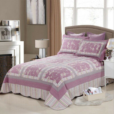 Checked Quilted Bedspreads Patchwork Coverlets Set Queen/King Size Bed Linen New