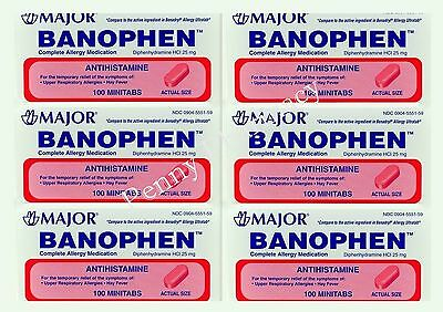 Diphenhydramine 25mg TABLETS 100ct BANOPHEN Minitabs ( 6 bottles )