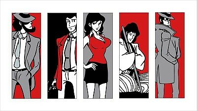 Quadro Lupin ghemon Jighen Margot Zenigata stampa su tela pop art canvas