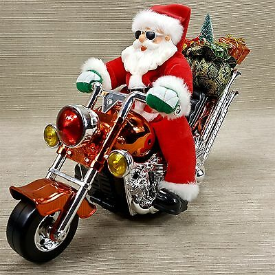 Kurt Adler Animated Musical Santa on Motorcycle Biker Moves Song Coming to Town