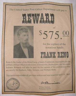 Frank Reno Wanted Poster, Western, Outlaw, Old West