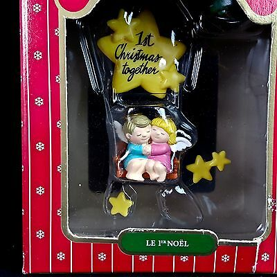 Vintage Noma Ornamotion First Christmas Together Rotates Lights Angel Couple