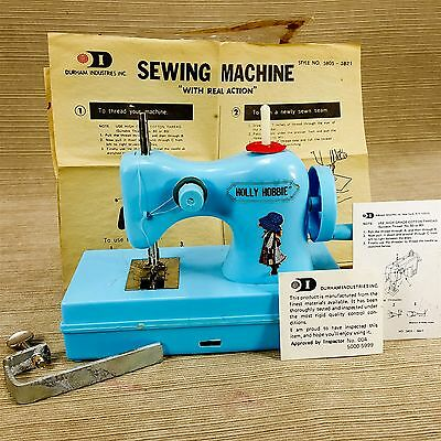 Holly Hobbie Durham's Hand Operated Old Fashion Sewing Machine Mini Blue Vintage