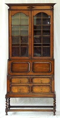 Antique Oak Bureau Bookcase, Jacobean Style Oak Barley-Twist Bureau Bookcase