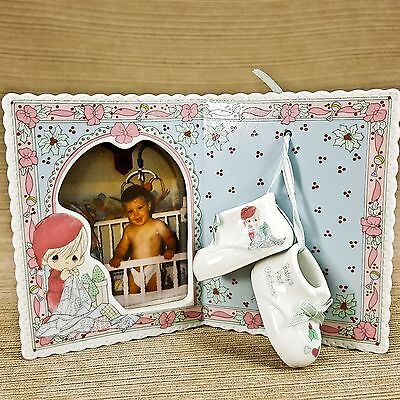 Precious Moments Baby's First Christmas Porcelain Photo Frame w Shoe Figurines