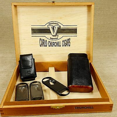 Carlo Churchill Wood Cigar Box & Atoll Black Leather Case Belt Pouch & 3 Cutters