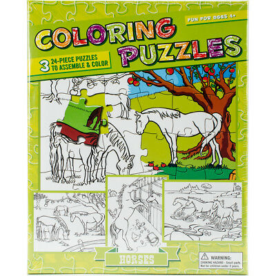 """Color Your Own Puzzle 24 Pieces 13""""X10"""" Horses OM56602"""