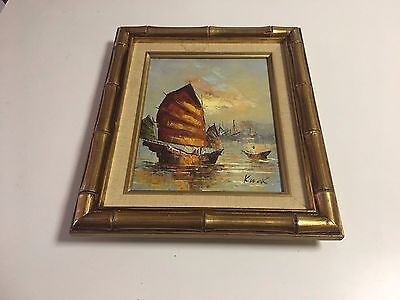 "Euc Vintage Oil On Canvas Signed Kwok Asian Seascape Framed Art 12"" X 14"""