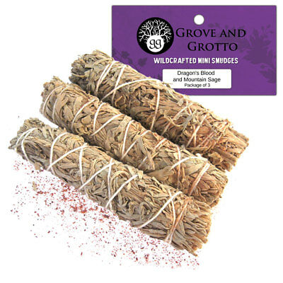 """Dragon's Blood and Mountain Sage Smudge Sticks 4"""" Wand Package of Three 3-Pack"""