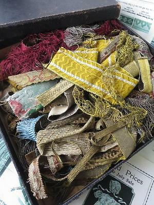 Fabulous Box Antique 17th- 19th Century Silk & Gilt Braid Fringing & Lace Trim