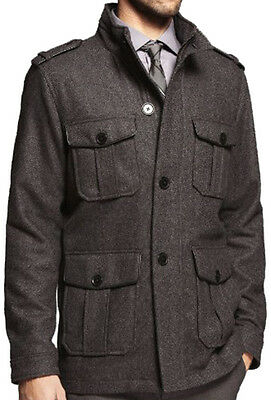 New EXPRESS Men's Hooded Tweed Wool Military Coat Jacket, nwt, Size S - XL, $270