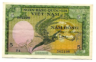 South Vietnam banknote 5 dong 1955 P.2 XF condition
