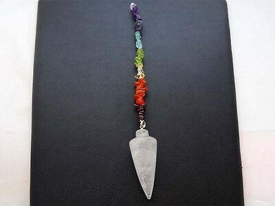 Clear Quartz 7 Chakra Chip Pendulum - Chakra's, Hang Above Bed Or Ask Questions