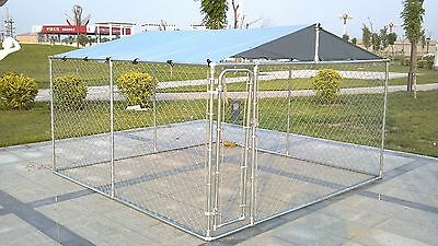 Large Outdoor Chain Link Dog Kennel Enclosure Exercise Pen Run with Cover