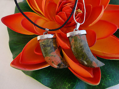 Unakite Shark Tooth Dagger Pendant - Small 40mm Leather Or S.S Chain AUS SELLER