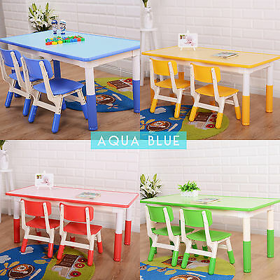 Adjustable Height Kids Desk + 2 Chair Set Kinder Home Reading Playing Long Table