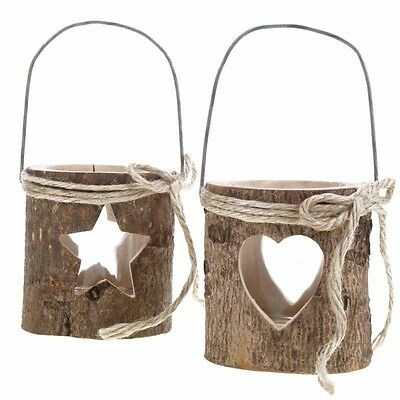 Set Of Two Large Wooden Bark Tealight Candle Holders Star/heart Rustic Christmas