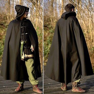 Black Cotton Cape With Hood - Ideal For LARP Stage Costume & Re-enactment