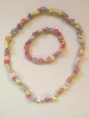 Plastic Bead Butterfly Stretch Necklace & Bracelet Set Girls Aged 1 - 10 Years