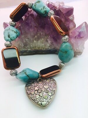 Chunky Turquoise Patterned Heart Stretch Bracelet Healing Spiritual AUS SELLER