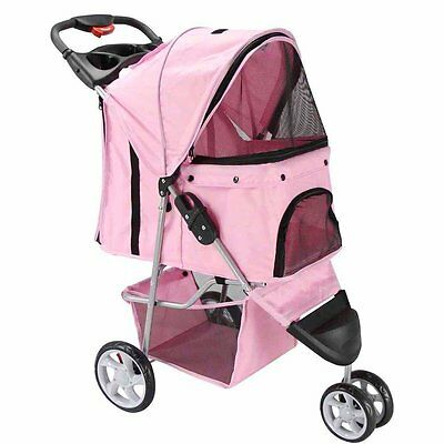 3 Wheel Pet Stroller For Small Dog Cat Carriers Fold Carriage Jogger Travel Walk