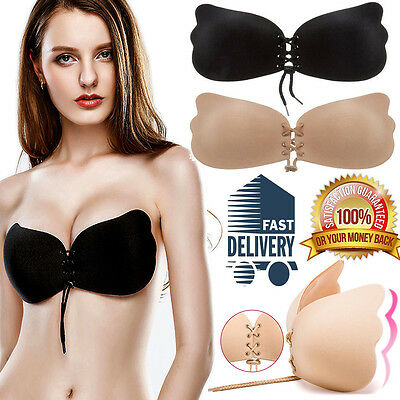 Lycra Invisible Strapless Backless Bra Adhesive Stick On Push Up Gel Bras ABCDE