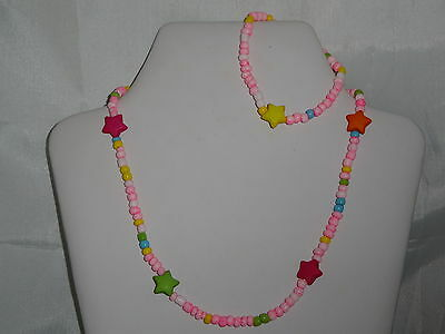 **bracelet And Necklace Set. Girls 1-6 Yrs Very Cute Elastic - Pink Star
