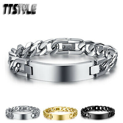 High Quality TTstyle 12mm Width THICK Stainless Steel ID Bracelet 3 Colours NEW