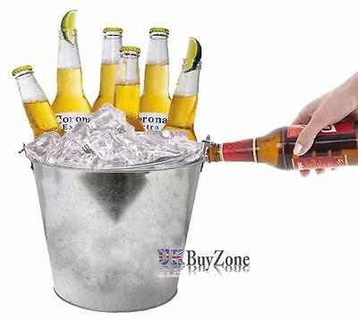 Retro Vintage Zinc Ice Bucket with Bottle Opener Beer Wine Cooler Home Bar Set