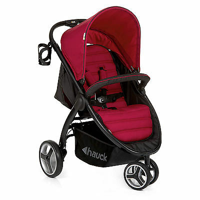 New Hauck Chilli Red Lift Up 3 Wheeler  Pushchair Buggy Jogger Pram From Birth