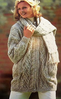 "#273 FAMILY CABLE JACKET HAT /& SCARF SET 26-44/"" VINTAGE KNITTING PATTERN"