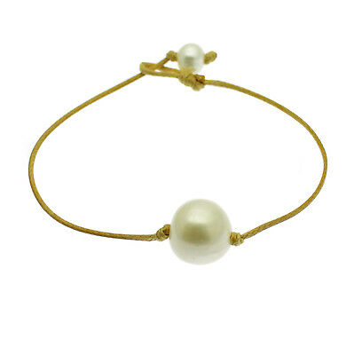 Pearl Bracelet 13mm Single White Cultured Freshwater Pearl Gift Bag
