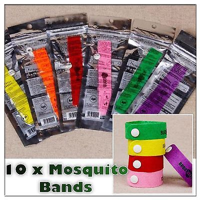 10 Anti Mosquito Repellent Bracelet Wristband Bands travel Mozzie Insect Camping