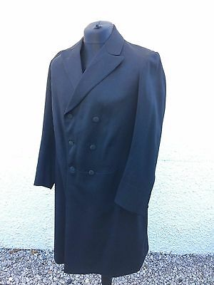"Vintage Black Wool Frock Coat 40"" Goth Steampunk Victorian Cosplay"