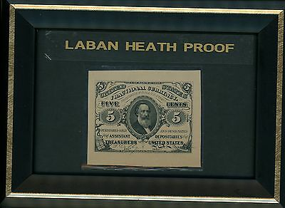 Five Cent Note Third Issue Fractional Currency Laban Heath Proof 1870's